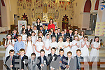 Pupils from Scoil Mhuire, Killorglin, who made their First Holy Communion on Saturday in St James Church, Killorglin, were Patrick Brennan, Cillian Buckley, Daniel Evans, Hugh Fitzpatrick, Cillian Foley, Jack Foley, Kelan Golden, Jamie Healy, Evan Houlihan, Finnegan O'Sullivan, Jack OSullivan, Adam Owens, Tom Whittleton, Ryan Young, Cora Cronin, Cora Diggin, Siofra Foley, Tanya Foran, Caoimhe Jones, Robyn Murphy, Nicole O'Connor, Natasha O'Shea, Orla O'Shea, Kassandra O'Sullivan, Adam Carey, Ryan Diggin, James Lonergan, Nicholas Moskal, Ryan O'Sullivan, Matthew Reenstierna, Jack Reenstierna, Jonathan Riordan, Alice Begley, Sarah Houlihan, Vivienne Hurley, Aoilbhe Mangan and Rachel Walsh pictured with Mrs McKenna and Mrs OSullivan.