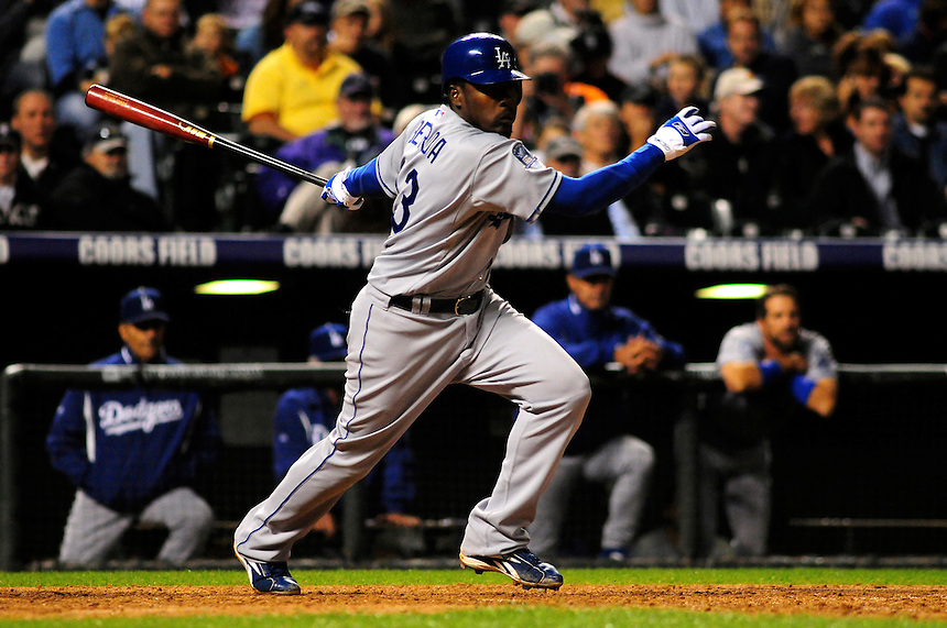 12 September 2008: Los Angeles Dodgers shortstop Angel Berroa at bat against the Colorado Rockies. The Dodgers defeated the Rockies 7-2 at Coors Field in Denver, Colorado. FOR EDITORIAL USE ONLY
