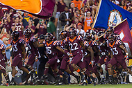 Landover, MD - SEPT 3, 2017: Virginia Tech Hokies run onto the field before the game between West Virginia and Virginia Tech at FedEx Field in Landover, MD. (Photo by Phil Peters/Media Images International)