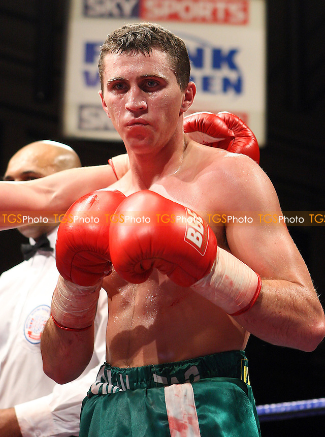 Eddie Corcoran (Wembley, green shorts) defeats Jay Morris (Newport, pink/black shorts) in a Light-Middleweight boxing contest at York Hall, Bethnal Green promoted by Frank Warren / Sports Network - 21/11/08 - MANDATORY CREDIT: Gavin Ellis/TGSPHOTO - Self billing applies where appropriate - 0845 094 6026 - contact@tgsphoto.co.uk - NO UNPAID USE.