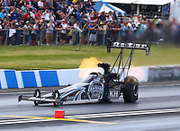 May 31, 2014; Englishtown, NJ, USA; NHRA top fuel driver Shawn Langdon during qualifying for the Summernationals at Raceway Park. Mandatory Credit: Mark J. Rebilas-