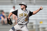 Pitcher Jarred Hippen #32 of the Iowa Hawkeyes during the Big East-Big Ten Challenge vs. the West Virginia Mountaineers at Jack Russell Stadium in Clearwater, Florida;  February 18, 2011.  West Virginia defeated Iowa 5-0 in both teams opening games of the season.  Photo By Mike Janes/Four Seam Images