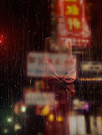 Beautiful half naked asian woman in red kimono standing in front of a wet window on rainy night at Chinatown. Photorealistic 3D illustration.