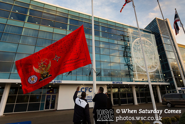 Leicester City 0 Manchester City 0, 29/12/2015. King Power Stadium, Premier League. Staff unfurling a red flag at The King Power Stadium Leicester, before the goalless draw between Leicester City and Manchester City. Leicester City are owned by a Thai led consortium. Photo by Paul Thompson.
