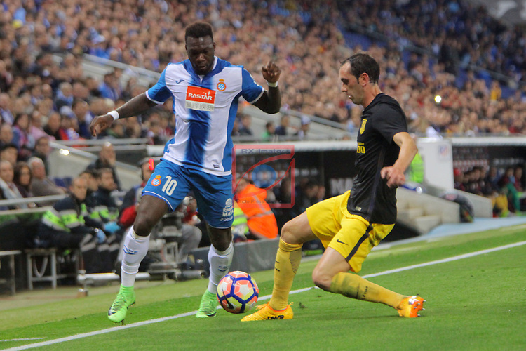 League Santander 2016/2017. Game: 33.<br /> RCD Espanyol vs Atletico de Madrid: 0-1.<br /> Felipe Caicedo vs Godin.