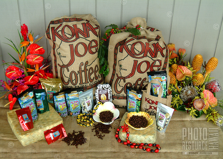 A packaged selection of coffee beans and tropical flowers at Kona Joe Coffee on the Big Island of Hawaii.