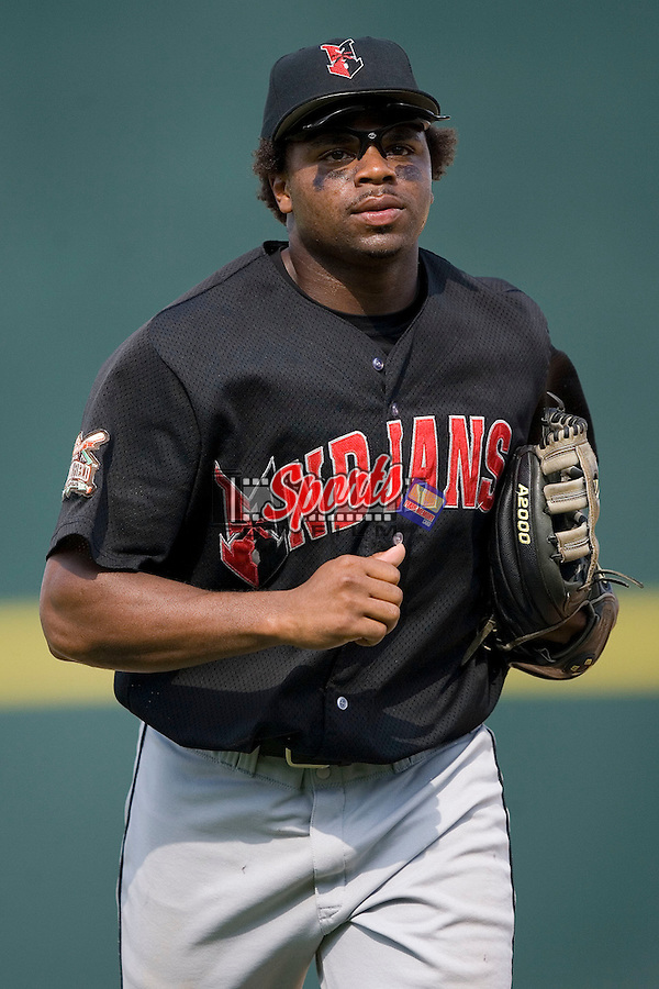 Indianapolis Indians center fielder Rajai Davis jogs to the dugout between innings versus the Charlotte Knights at Knights Stadium in Fort Mill, SC, Sunday, August 13, 2006.