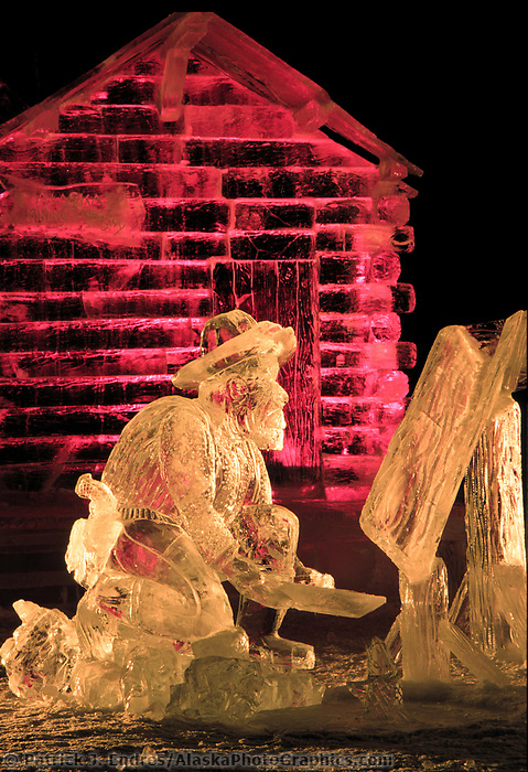 Multi Block Ice sculpture at the World Ice Art Championships held each march in Fairbanks, Alaska