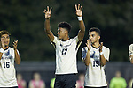 Logan Gdula (17) of the Wake Forest Demon Deacons during player introductions prior to the match against the North Carolina State Wolfpack at W. Dennie Spry Soccer Stadium on September 7, 2018 in Winston-Salem, North Carolina.  The Demon Deacons defeated the Wolfpack 3-0 in double-overtime.  (Brian Westerholt/Sports On Film)