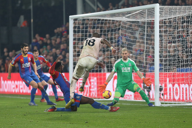 Manchester United's Ashley Young scores his side's third goal <br /> <br /> Photographer Rob Newell/CameraSport<br /> <br /> The Premier League - Wednesday 27th February 2019  - Crystal Palace v Manchester United - Selhurst Park - London<br /> <br /> World Copyright © 2019 CameraSport. All rights reserved. 43 Linden Ave. Countesthorpe. Leicester. England. LE8 5PG - Tel: +44 (0) 116 277 4147 - admin@camerasport.com - www.camerasport.com