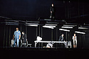 EMBARGOED UNTIL 7:30pm 11.04.15. London, UK. 09.04.2015. English National Opera presents the world premiere of Tansy Davies' BETWEEN WORLDS, at the Barbican. Picture shows: Andrew Watts (Shaman), Eric Greene (Janitor), William Morgan (Younger Man), Phillip Rhodes (Older Man), Rhian Lois (Younger Woman), Clare Presland (Realtor). Photograph © Jane Hobson.