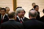 Australian Prime Minister Kevin Rudd shakes hands with senior diplomats after meeting with his Japanese counterpart Yukio Hatoyama at the Japanese prime minister's offices in Tokyo, Japan on Tuesday Dec. 15 2009..Photographer: Robert Gilhooly..