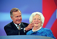 ***FILE PHOTO*** George H.W. Bush Has Passed Away<br /> Former United States President George H.W. Bush, left, and former first lady Barbara Bush, right, on the podium  of the 1996 Republican National Convention at the San Diego Convention Center in San Diego, California on August 12, 1996.  CAP/MPI/RS<br /> &copy;RS/MPI/Capital Pictures
