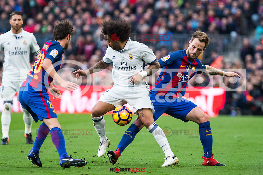 FC Barcelona's Sergi Roberto , Ivan Rakitic, Real Madrid's Marcelo Vieira during spanish La Liga match between Futbol Club Barcelona and Real Madrid  at Camp Nou Stadium in Barcelona , Spain. Decembe r03, 2016. (ALTERPHOTOS/Rodrigo Jimenez) /NORTEPHOTO.COM