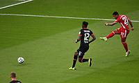 v. l. Edmond Tapsoba (Bayer Leverkusen), Serge Gnabry (FC Bayern Muenchen) Goal scored, erziehlt das Tor zum 0:2<br /> <br /> Fussball, Herren, Saison 2019/2020, 77. Finale um den DFB-Pokal in Berlin, Bayer 04 Leverkusen - FC Bayern München, 04.07. 2020, Foto: Matthias Koch/POOL/Marc Schueler/Sportpics.de