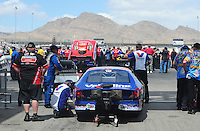 Apr. 1, 2012; Las Vegas, NV, USA: NHRA pro stock driver Ron Krisher waits in the staging lanes during the Summitracing.com Nationals at The Strip in Las Vegas. Mandatory Credit: Mark J. Rebilas-