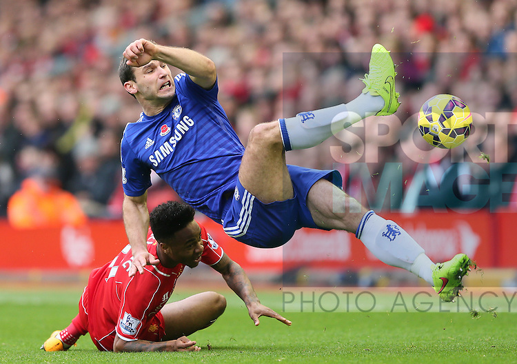 Raheem Sterling of Liverpool and Branislav Ivanovic of Chelsea - Barclays Premier League - Liverpool vs Chelsea - Anfield Stadium - Liverpool - England - 8th November 2014  - Picture Simon Bellis/Sportimage