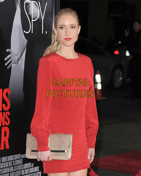Kristin Cavallari.The L.A Premiere of 'This Means War' held at The Grauman's Chinese Theatre in Hollywood, California, USA..February 8th, 2012.half length dress clutch bag beige red lipstick .CAP/RKE/DVS.©DVS/RockinExposures/Capital Pictures.