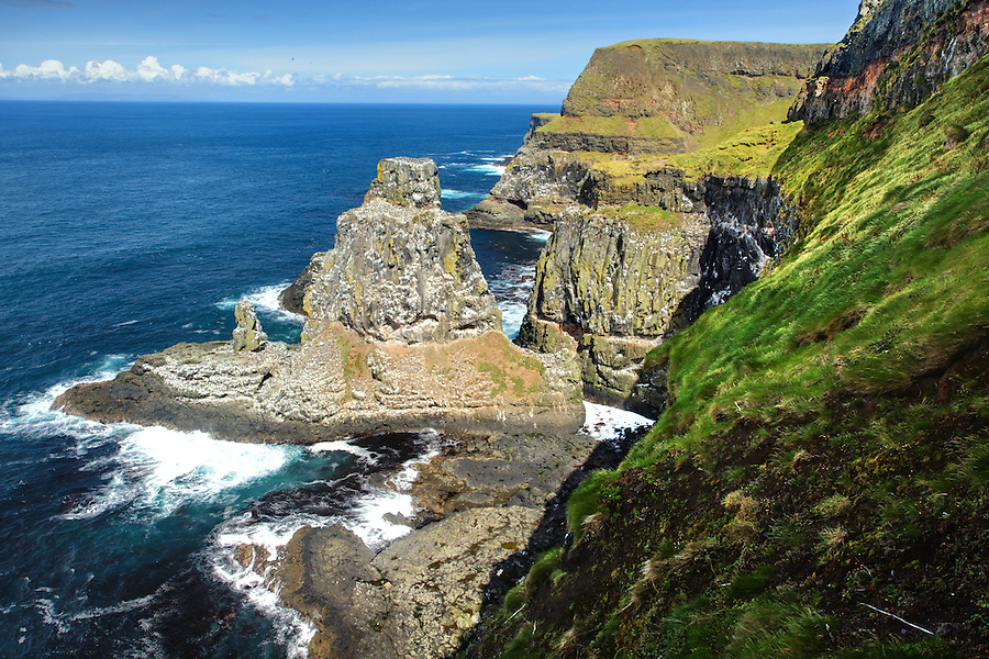 Coastal cliffs at Rathlin Island Seabird Centre, County Antrim, Northern Ireland, United Kingdom
