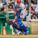 29 June 2017: Chicago Cubs catcher Willson Contreras glances back to the dugout for a sign during game action against the Washington Nationals at Nationals Park in Washington, DC. The Cubs rallied to defeat the Nationals 5-4 and split their 4-game series. Mandatory Credit: Ed Wolfstein Photo *** RAW (NEF) Image File Available ***