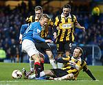 Dean Shiels tries to sidestep three East Fife defenders en route to goal