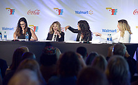 NWA Democrat-Gazette/BEN GOFF @NWABENGOFF<br /> Melissa Fumero (from left), Meg Ryan, Stephanie Beatriz and Geena Davis read a scene from 'Goodfellas' Thursday, May 4, 2017, while taking part in the Bentonville Film Festival's 'Geena and Friends' panel at Record in Benotnville. The panel has become a popular feature of the festival, with Davis and other female celebrities performing table reads of movie scenes featuring predominantly male casts.