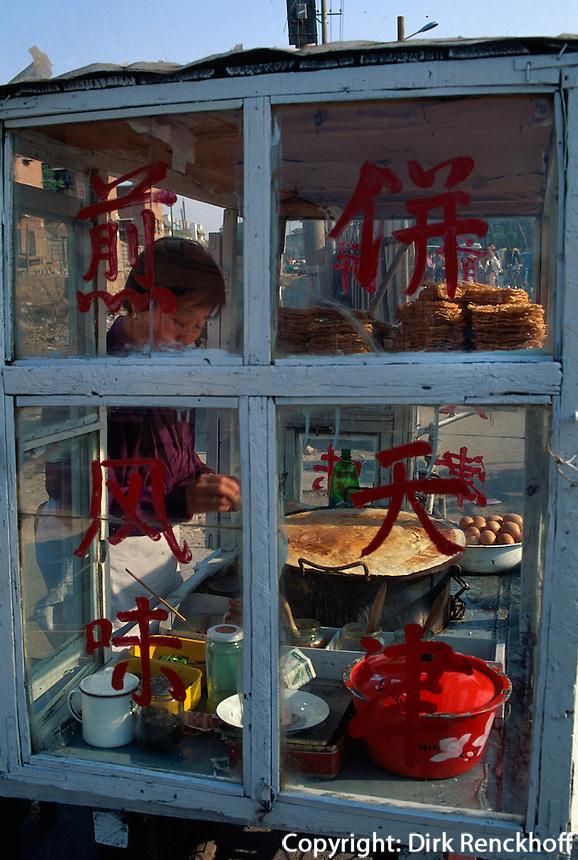 Verkauf von Pfannkuchen (Jian Bing), Peking (Beijing), China