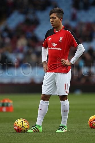 14.02.2016. Villa Park, Birmingham, England. Barclays Premier League. Aston Villa versus Liverpool.<br /> Roberto Firmino of Liverpool during the warm up