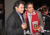 Jaime with Marco Etcheverry during festivities surrounding the final appearance of Jaime Moreno in a D.C. United uniform, at RFK Stadium, in Washington D.C. on October 23, 2010. Toronto won 3-2.