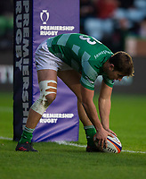 Newcastle Falcons'  Ben Stevenson scores his side's second try<br /> <br /> Photographer Bob Bradford/CameraSport<br /> <br /> Premiership Rugby Cup Round 2 Pool 1 - Harlequins v Newcastle Falcons - Sunday 4th November 2018 - Twickenham Stoop - London<br /> <br /> World Copyright © 2018 CameraSport. All rights reserved. 43 Linden Ave. Countesthorpe. Leicester. England. LE8 5PG - Tel: +44 (0) 116 277 4147 - admin@camerasport.com - www.camerasport.com
