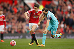 Ander Herrera of Manchester United battles West Ham's Mark Noble during the Emirates FA Cup match at Old Trafford. Photo credit should read: Philip Oldham/Sportimage