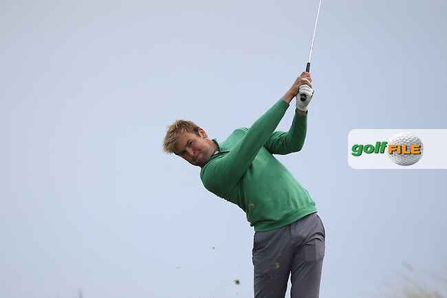 Jonathan Yates (Naas) on the 8th tee during the Flogas Irish Amateur Open Championship Am-Am at Royal Dublin on Monday 9th May 2016.<br /> Picture:  Thos Caffrey / www.golffile.ie