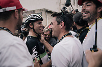 Edvald Boasson Hagen (NOR/Dimension Data) wins the stage and celebrates with familiar faces nearby<br /> <br /> 104th Tour de France 2017<br /> Stage 19 - Embrun &rsaquo; Salon-de-Provence (220km)
