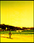 A surfer looks out at DeeWhy Beach, Sydney, Australia.