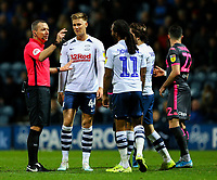 Referee Kevin Friend has a word with Preston North End's Brad Potts<br /> <br /> Photographer Alex Dodd/CameraSport<br /> <br /> The EFL Sky Bet Championship - Preston North End v Leeds United - Tuesday 22nd October 2019 - Deepdale Stadium - Preston<br /> <br /> World Copyright © 2019 CameraSport. All rights reserved. 43 Linden Ave. Countesthorpe. Leicester. England. LE8 5PG - Tel: +44 (0) 116 277 4147 - admin@camerasport.com - www.camerasport.com