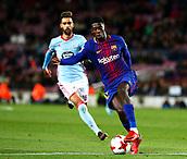 11th January 2018, Camp Nou, Barcelona, Spain; Copa del Rey football, round of 16, 2nd leg, Barcelona versus Celta Vigo; Ousmane Dembélé breaks forward at pace