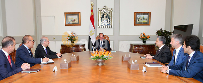 Egyptian President Abdel Fattah al-Sisi meets with Ioannis Kasoulides, former Foreign Minister of Cyprus and a head of the Eurofrica intercontinental strategic center, in Cairo, Egypt on June 27, 2018. Photo by Egyptian President Office