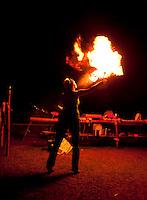 Nina from Karlshamn, Sweden, blowing fire. Photo: Johanna Mårtensson/Scouterna