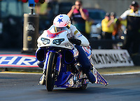 Oct. 5, 2012; Mohnton, PA, USA: NHRA pro stock motorcycle rider Hector Arana Jr during qualifying for the Auto Plus Nationals at Maple Grove Raceway. Mandatory Credit: Mark J. Rebilas-