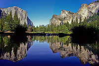 El Capitan and The sentinels reflected in Merced River in Yosemite National Park, California, USA