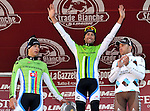Moreno Moser (ITA) wins with team mate Peter Sagan (SVK) Cannondale in 2nd place and Rinaldo Nocentini (ITA) AG2R La Mondiale in 3rd. on Il Campo in Siena at the end of the 2013 Strade Bianche race over the white dusty gravel roads of Tuscany, Italy. 2nd March 2013.<br /> Photo: Gian Mattia D'Alberto/LaPresse/www.newsfile.ie