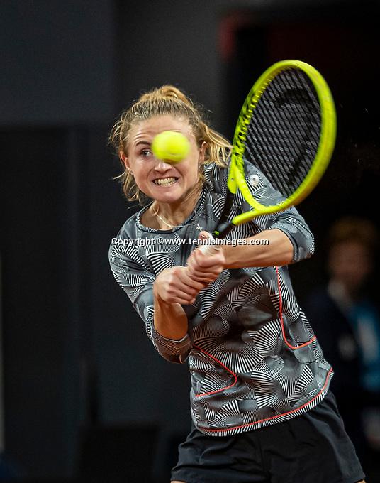 The Hague, The Netherlands, Februari 8, 2020,    Sportcampus, FedCup  Netherlands -  Balarus, Seccond match on Saturday:  Aliaksandra Sasnovich (BLR) <br /> Photo: Tennisimages/Henk Koster