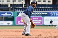 Vladimir Guerrero Jr. (27) of the New Hampshire Fisher Cats plays at the third base position during a game against the Hartford Yard Goats at Dunkin Donuts Park on April 8, 2018 in Hartford, Connecticut.<br /> (Gregory Vasil/Four Seam Images)