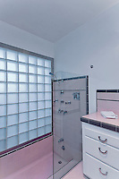 Bathroom of Palm Springs mid-century modernism 50's home Stock photo of master bath, en suite, bathroom