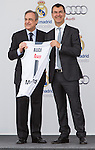 Spanish director of Audi, Guillermo Fadda, and Florentino Fernandez, president of the Real Madrid CF, during the Audi Car delivery, at the basketball players of the Real Madrid. May 25,2016. (ALTERPHOTOS/Rodrigo Jimenez)
