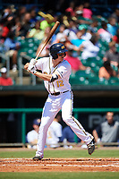Montgomery Biscuits third baseman Michael Russell (12) at bat during a game against the Mississippi Braves on April 25, 2017 at Montgomery Riverwalk Stadium in Montgomery, Alabama.  Mississippi defeated Montgomery 3-2.  (Mike Janes/Four Seam Images)