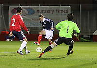 Matthew Kennedy shoots to score in the Scotland v Armenia UEFA European Under-19 Championship Qualifying Round match at New Douglas Park, Hamilton on 9.10.12.