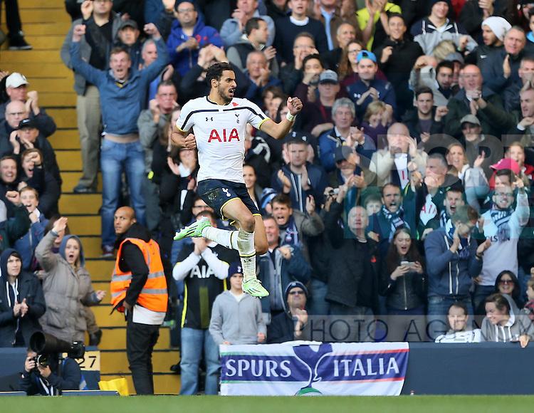 Tottenham's Nacer Chadli celebrates scoring his goal<br /> <br /> - Barclays Premier League - Tottenham Hotspur vs Stoke City- White Hart Lane - London - England - 9th November 2014  - Picture David Klein/Sportimage
