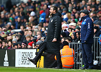 17th March 2018, Craven Cottage, London, England; EFL Championship football, Fulham versus Queens Park Rangers; Fulham Manager Slavisa Jokanovic shouting at this players from the touchline with Queens Park Rangers manager Ian Holloway looking on from the touchline