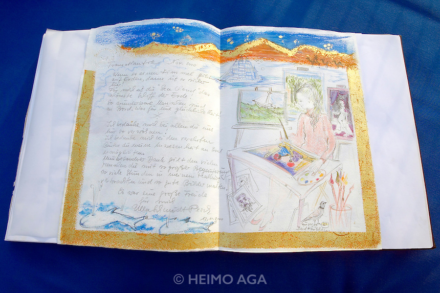 Guest book aboard the Sea Cloud, with artistic entry by German painter Mrs. Ulla Schmidt-Pesch.